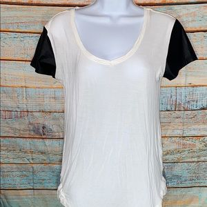 Edgy RD Style Top with leather sleeves. Medium